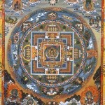Colorful picture of a highly detailed Buddhist mandala