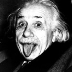 Photo of Albert Einstein sticking his tongue out at the camera