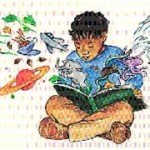 Illustration of a young boy reading a book with images flying out of it