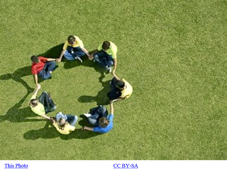 Photo giving bird's eye view of seven children sitting in a circle
