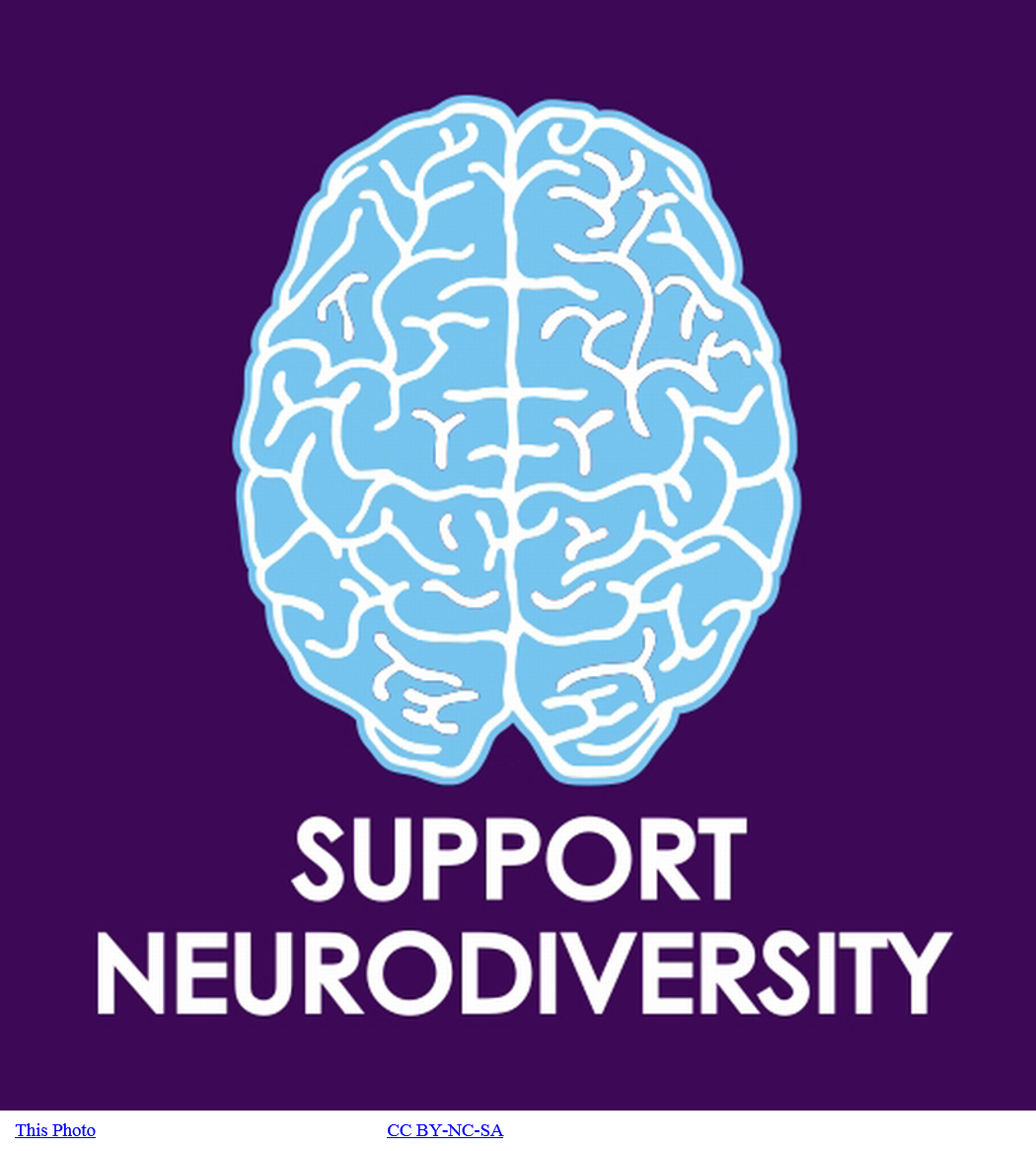 Graphic of a brain with the words ''Support Neurodiversity'' under it